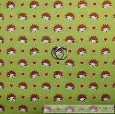 BonEful Fabric FQ Cotton Quilt Green Brown Red White Hedgehog Heart Stripe Tiny