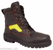 SIZE 5 OLIVER 66360 FIRE-FIGHTERS STYLE LACE-UP WORK BOOTS HI-VIS STRIPE