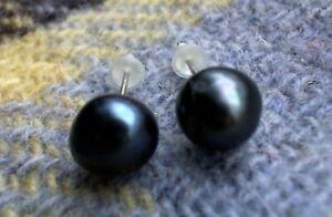 BLACK PEACOCK BAROQUE 8MM FW CULTURED PEARL SP STUD EARRINGS.