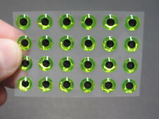 """24 Holographic Chartreuse 3D Soft Molded .28"""" 7mm Eyes Fly Tying Lures"""