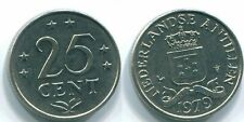 1979 NETHERLANDS ANTILLES 25 CENTS Nickel Colonial Coin #S11646U