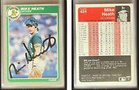 Mike Heath Signed 1985 Fleer #424 Card Oakland Athletics Auto Autograph