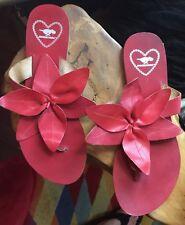 Rocket Dog Huge Flower Red Leather Thong Sandals UK 8