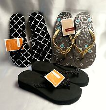 Flip Flops Womens Size Small Wedge and Flat Solid Moroccan Lot of 3 Pair
