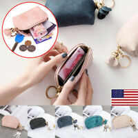 Women Portable Small Soft Leather Zipper Mini Wallet Coin Purse Key Clutch Bag O