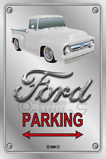 Parking Sign - Metal - Ford F100 - 1955 - 1956 - ORIGINAL - WHITE TRUCK