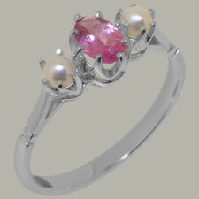 Solid 18ct White Gold Natural Pink Tourmaline & Pearl Womens Trilogy Ring