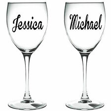 2 x PERSONALISED NAME   WINE GLASS VINYL STICKERS / DECAL (c)