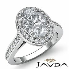 Halo Pave Set Oval Diamond Vintage Style Engagement Ring GIA F VS2 Platinum 2ct