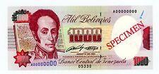 Venezuela ... P-73s1 ... 1000 Bolivares ... 1991 ... CH*UNC*  Specimen : 05330