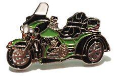 Green Trike 3 Wheeled Bike Biker Motorcycle Motorbike Metal Rocker Enamel Badge