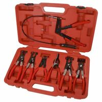 7PC Hose Clamp Pliers Clip Set Mechanics Tools In Storage Case