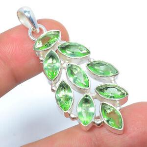 "Green Amethyst Gemstone 925 Sterling Silver Handmade Jewelry Pendant 2.15"" M1520"