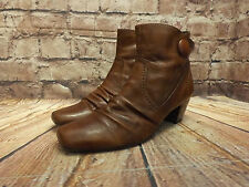 Ladies Pavers Tan Leather Zip Fastening Mid heel Ankle Boots Size EU 38