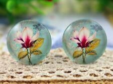 20mm foto fatte a mano vetro Cabochon | Vintage Magnolia Flower Design | 10pcs