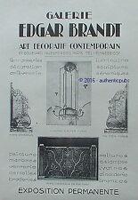 PUBLICITE EDGAR BRANDT GALERIE FERRONNERIE LUSTRE DE 1927 FRENCH AD PUB ART DECO