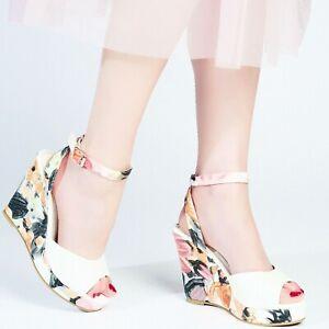 Women White Floral Wedge Platform Sandal Ankle Strap Buckle high Heel Shoes