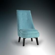 New Tall Vibrant Blue Striped Fabric Statement Accent Chair *Furniture Store*