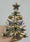 Vintage Jewelry Eisenberg Signed Christmas Tree Brooch Pin Rhinestones Goldtone