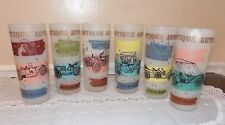Vintage  Antique Auto/Car Iced Tea Frosted Glass set of 6