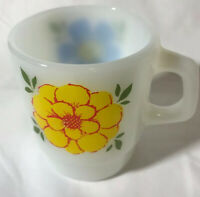 "VINTAGE Anchor Hocking Mug Cup Fire King oven proof Flower 3-1/2"" High U.S.A"