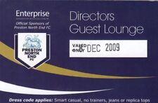 Ticket - Preston North End v Derby County 08.12.09 Directors Guest Lounge