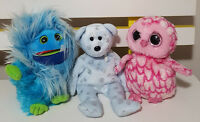 3 TY BEANIES PLUSH TOY! SOFT TOY FANG MONSTER FLAKY TEDDY BEAR OWL KIDS TOY!