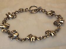 """Sterling Silver 925 Elephant Chain Link 7.75"""" Bracelet Toggle Clasp 16.87gs."""