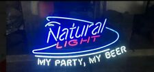 "New Natural Light My Party My Beer Neon Sign 24""x20"" Lamp Poster Real Glass"