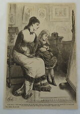1882 magazine engraving ~ Fairy Enid, woman + small girl sit in front of mirror