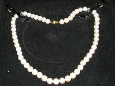 European Europe 10K gold 375 Genuine White Round Pearl Beaded NECKLACE 35.5 gr