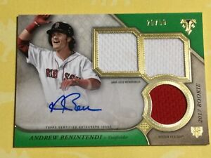 2017 Andrew Benintendi Topps Rookie Triple Game Used Patch Auto Green #/50! RC