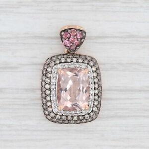 New 2.23ctw Morganite Diamond Halo Pendant Pink Tourmaline 10k Rose Gold