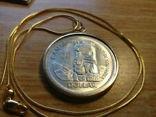 """1958 BC Totem Canada 800 Silver Dollar Pendant on a 24"""" 18kgf Gold Filled Chain."""