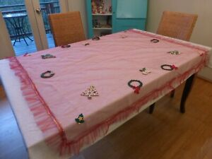 Vintage Christmas Sequin Applique Red Netted Tulle & Felt Tablecloth Ruffled