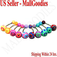 W017 Acrylic Belly Rings 14G Hexagon Shape Lot of 10 Colors Naval Curve Barbells