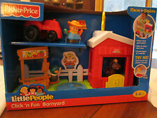 Fisher Price Little People Click n Fun Barnyard Farm Barn Duck Horse Farmer Food