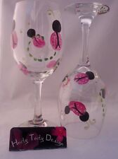2 Red Lady Bug Girl Wine Glass