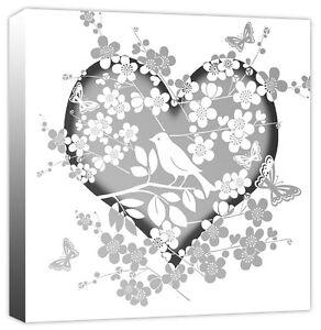 Love Blossom Flower Bird Butterfly Heart White & Grey - Canvas Art Print Picture