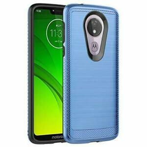 Phone Case For Motorola Moto G7 Power/ Supra/ Optimo Maxx Blue Armor Brushed