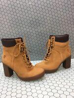 Timberland EARTHKEEPERS Wheat Nubuck Waterproof Lace Up Heeled Boots Women's 7