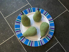 PEARS x 4 HAND KNITTED / CROCHETED FOOD / ROLE PLAY / DECORATION ** NEW **