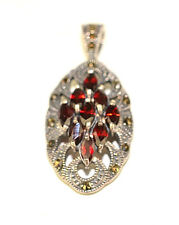 """NEW STERLING SILVER MARCASITE & GARNET CLUSTER OVAL 1 5/8"""" PENDANT FOR NECKLACE"""