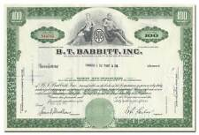 B. T. Babbitt, Inc. Stock Certificate