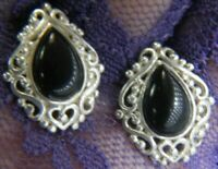 "Vintage teardrop Onyx 3/4"" X 5/8"" 0.925 Sterling Silver post PIERCED earrings"