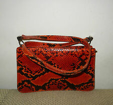 FURLA Embossed Snakeskin Genuine Leather Shoulder Bag - Made in Italy