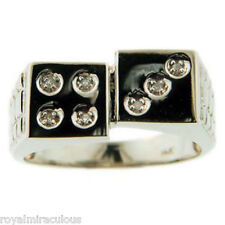 LUCKY 7 DICE Mens diamond Ring  -Craps Ring Sterling Silver