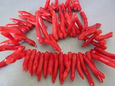 Red Bamboo Coral Branch Beads 62pcs