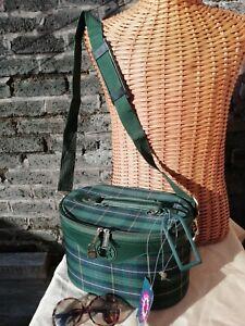 Vtg 80s Lge Navigator Green Tartan Canvas Check Shoulder Vanity Case Bag. NWT