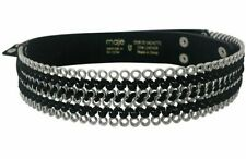 MAJE WOMENS BLACK LEATHER BELT SUEDE CHAINS  27-28